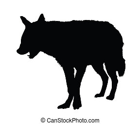 Portrait Silhouette of Spotted Hyena with Open Mouth