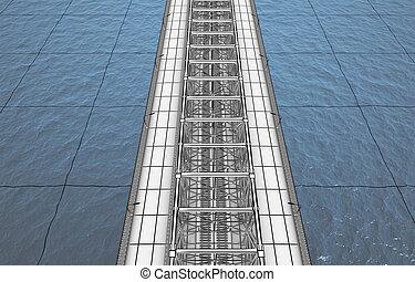 sketch bridge over the Ocean - 3d render concept