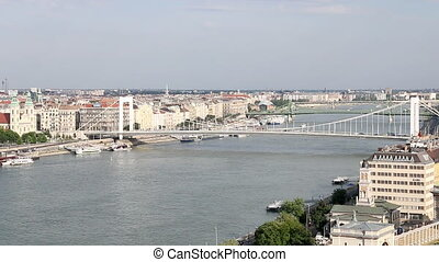 Elisabeth bridge on Danube river Budapest