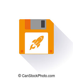 Floppy disk with a rocket - Illustration of an isolated...