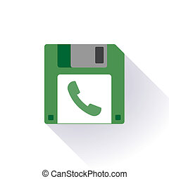Floppy disc icon with a phone - Illustration of an isolated...