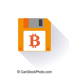 Floppy disc icon with a bitcoin sign - Illustration of an...