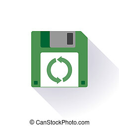 Floppy disc icon with a recycle sign - Illustration of an...