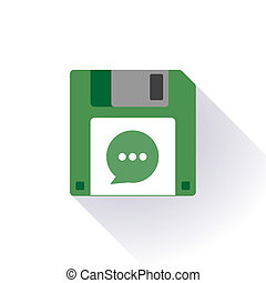 Floppy disc icon with a comic balloon - Illustration of an...