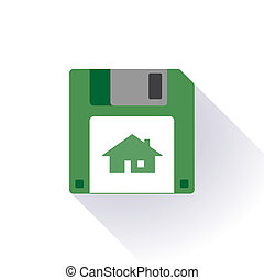 Floppy disc icon with a house - Illustration of an isolated...
