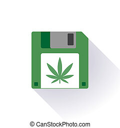 Floppy disc icon with a marijuana leaf - Illustration of an...
