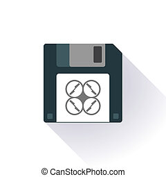 Floppy disk with a drone - Illustration of an isolated...