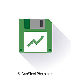 Floppy disc icon with a graph - Illustration of an isolated...
