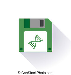 Floppy disc icon with a dna sign - Illustration of an...