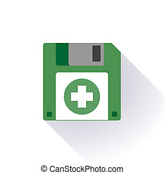 Floppy disc icon with a pharmacy icon - Illustration of an...
