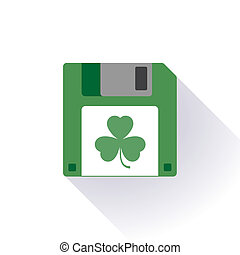 Floppy disc icon with a leaft - Illustration of an isolated...