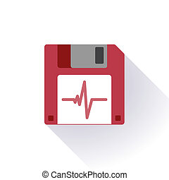 Floppy disk with a heart beat graph - Illustration of an...