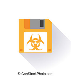 Floppy disk with a biohazard sign - Illustration of an...