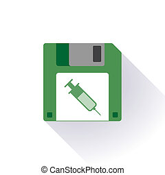 Floppy disc icon with a syringe - Illustration of an...