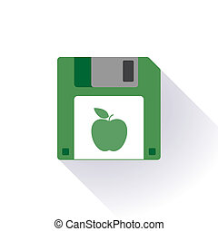 Floppy disc icon with an apple - Illustration of an isolated...