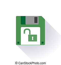 Floppy disc icon with a lockpad - Illustration of an...