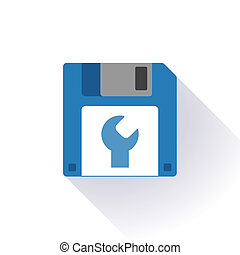 Floppy disk with a monkey wrench - Illustration of an...