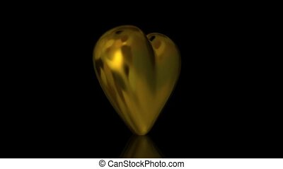 Heart of Gold Animation Loop - A metallic golden heart...