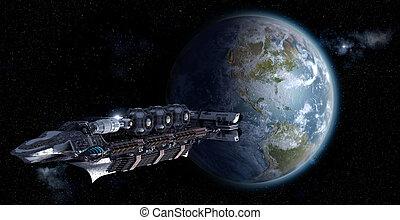 Spacelab leaving Earth - Alien mothership or spacelab...