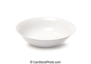 Deep empty white plate - Deep round white plate on a white...