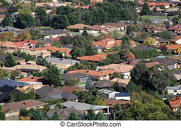Suburban living - Suburban houses seen from high vantage...