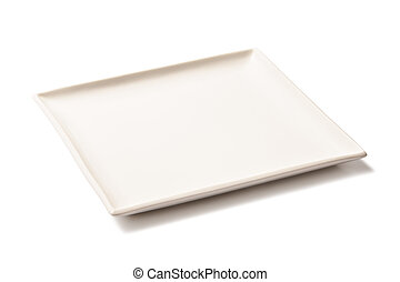 White empty rectangular plate - Empty white porcelain square...