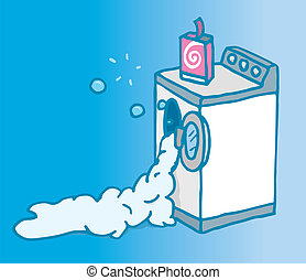 Too much soap on open washing machine - Cartoon illustration...