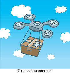 Drone copter flight delivering a box - Cartoon illustration...