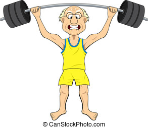 Cartoon old man lifting weights