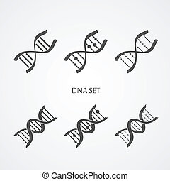 Dna icons set - Dna icons isolated on white Flat style