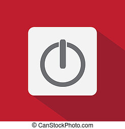 Power button flat style - Power on flat icon with long...