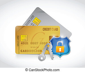 credit secure cards shield lock protection illustration...