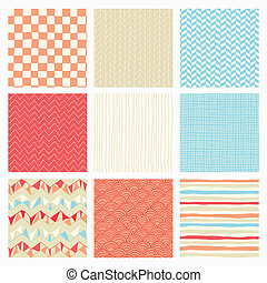 Abstract Hand Drawn Seamless Background Patterns - Set of...