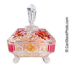 crystal bowl with food on a background. - crystal bowl with...