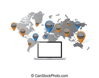 location business computer illustration