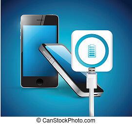 recharging smart phone illustration design over a blue...