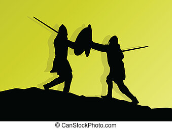 Medieval knight, warrior fight vector background concept