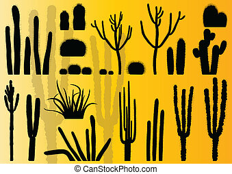 Cactus plants detailed illustration collection background...