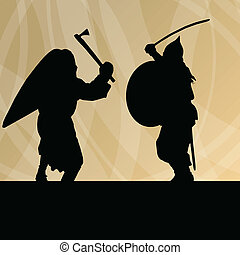 Medieval warrior, crusader vector background for poster