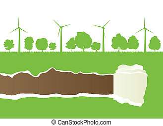 Ecology wind generator vector background with ripped paper...