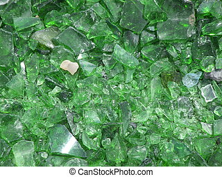 Green glass - many pieces of broken glass in green