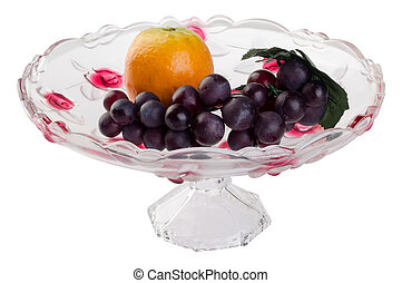 crystal bowl with food on a background - crystal bowl with...