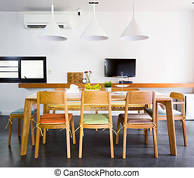 Dinning Room - Contemporary dinning room with wooden tables...