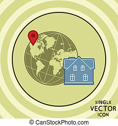 Single vector color flat icon. Hotel location.