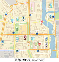 Vector city map with pin location pointers of services like...