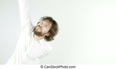Man dancing funny isolated