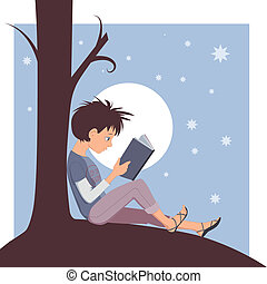 Joy of Reading - Little kid reading a book under a tree,...