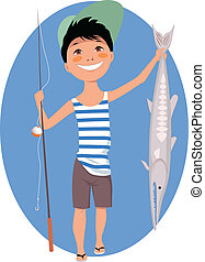 Little Angler - Cartoon little boy with a fishing rod and a...
