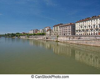 River Po Turin - Fiume Po River Po in Turin Italy