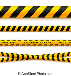 Police line tape and danger on a light background. Vector...